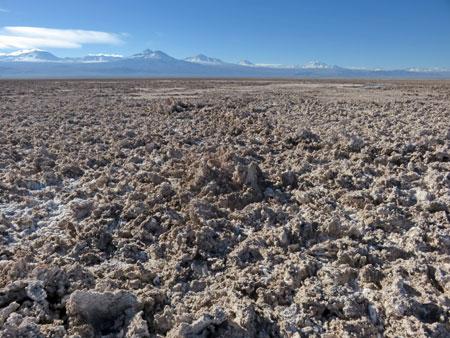 The rough, thick surface of the salt flats at the Salar de Atacama, Chile.