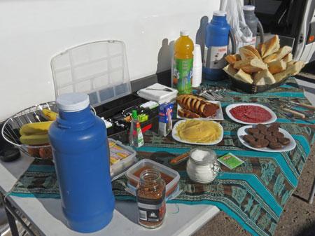 Breakfast at the Salar de Atacama, Chile.
