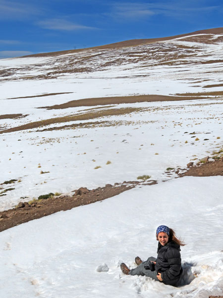 A snow angel in the Andes mountains, Chile.