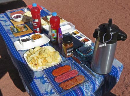 A snack breakfast in the Valle de Arcoiris, near San Pedro de Atacama, Chile.