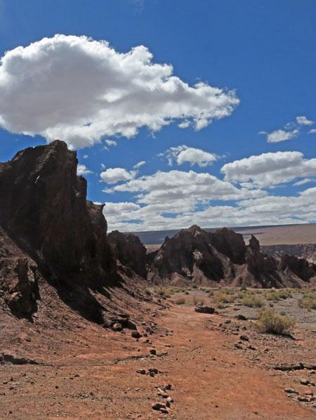 Jagged spires in the Valle de Arcoiris, near San Pedro de Atacama, Chile.