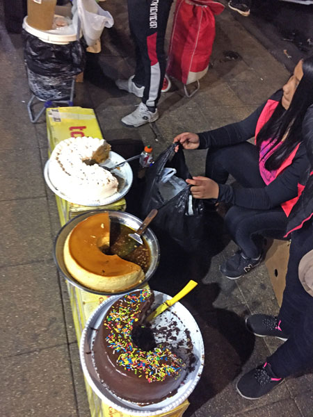 A homemade cake vendor near the Plaza de Armas in Santiago, Chile.