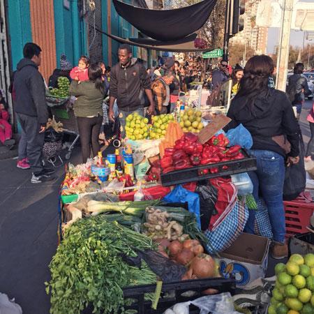 A street market in Santiago, Chile.