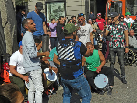 The percussion band rocks out at the Plaza de Armas in Santiago, Chile.