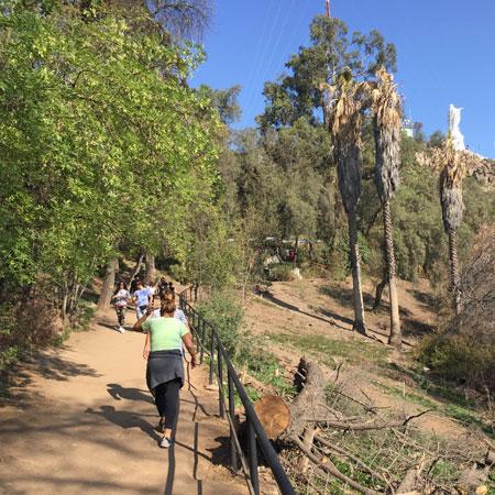The path up Cerro San Cristobal in Santiago, Chile.