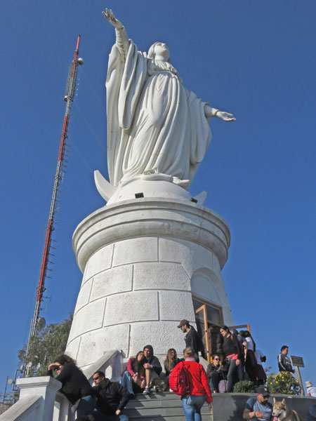 The Virgin Mary at the top of Cerro San Cristobal in Santiago, Chile.