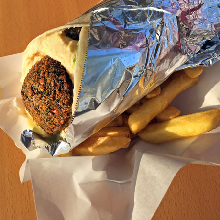A falalfel sandwich at Tawil in Santiago, Chile.