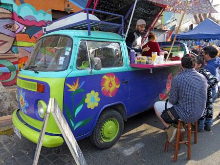 A bar in a Volkswagen bus in Santiago, Chile.