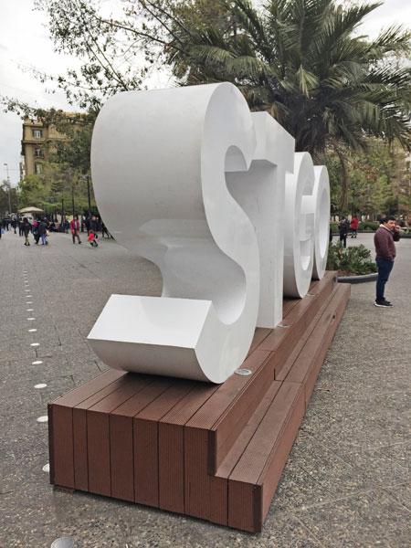 The STGO sign at the Plaza de Armas in Santiago, Chile.