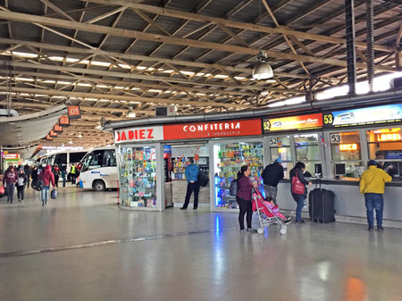 The San Borja bus terminal in Santiago, Chile.