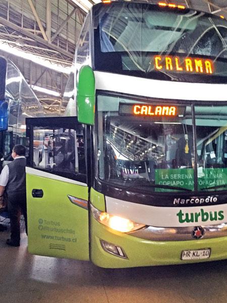 A Turbus bound for Calama at the San Borja bus terminal in Santiago, Chile.