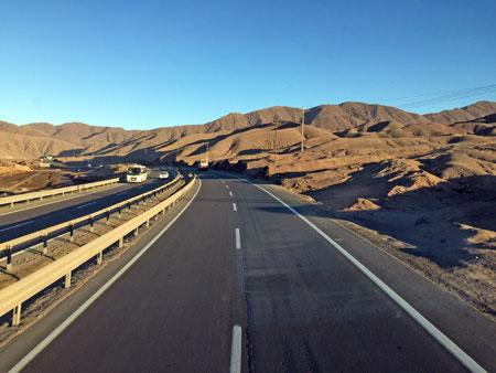 Sunrise on the road in the Atacama Desert, Chile.