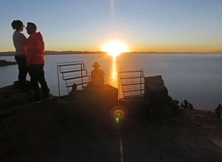Sunset over Lake Titicaca, Bolivia, as seen from Cerro Calvario.