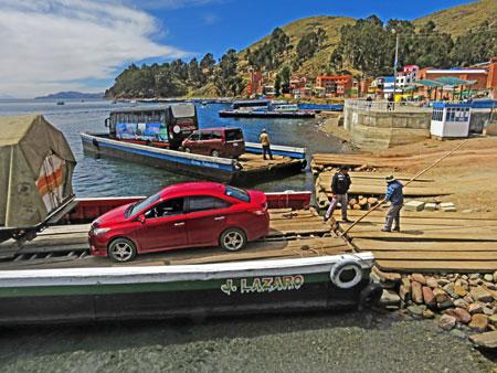 The ferry crossing from San Pablo de Tiquina to San Pedro de Tiquina, Bolivia.