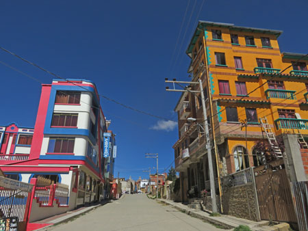 Colorful buildings in Copacabana, Bolivia.