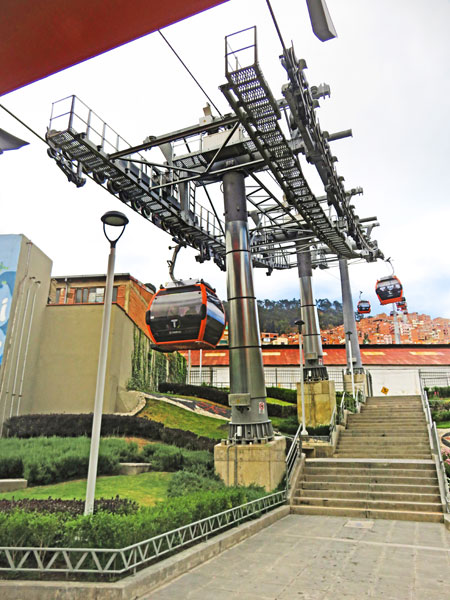 The Mi Teleferico aerial cable car system in La Paz, Bolivia.