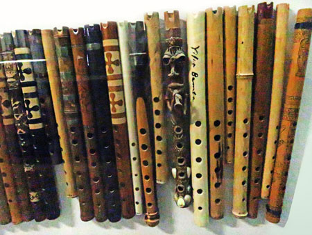 A collection of hand-carved wooden recorders at the Museo de Instrumentos Musicales in La Paz, Bolivia.
