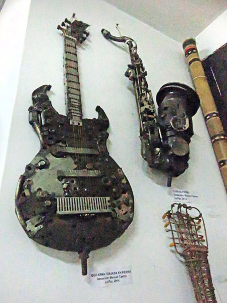A nutty guitar and sax at the Museo de Instrumentos Musicales in La Paz, Bolivia.