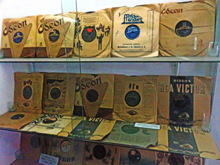 A collection of rare Odeon and RCA Victor 78 rpm records of Bolivian music at the Museo de Instrumentos Musicales in La Paz, Bolivia.