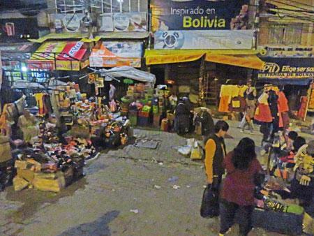 A night market in La Paz, Bolivia.