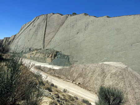 The wall of dinosaur footprints at Parque Cretacico in Sucre, Bolivia.