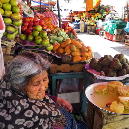 An elderly character at the Mercado Central in Sucre, Bolivia.