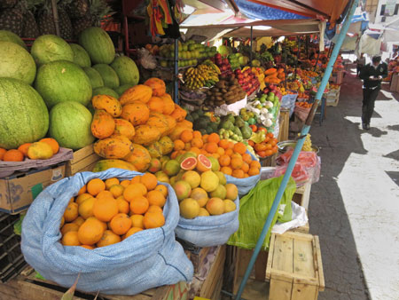 Fruit galore at the Mercado Central in Sucre, Bolivia.