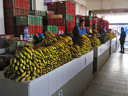 This lady has gone bananas at the Mercado Central in Sucre, Bolivia.