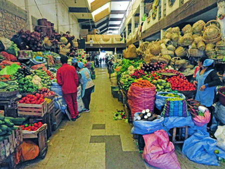A vegetable aisle at the Mercado Central in Sucre, Bolivia.
