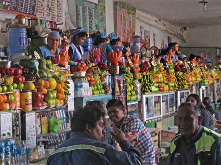 Fruit juice vendors at the Mercado Central in Sucre, Bolivia.