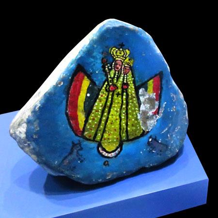 Piedra Santo con Virgen de Guadalupe at the Museo Nacional de Etnografia y Folklore in Sucre, Bolivia.