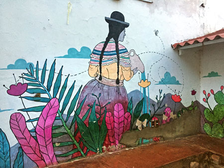 A mural at the Beehive Hostel in Sucre, Bolivia.