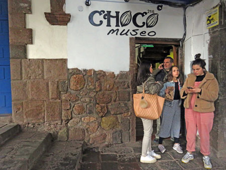 The entrance to the Choco Museo in Cuzco, Peru.