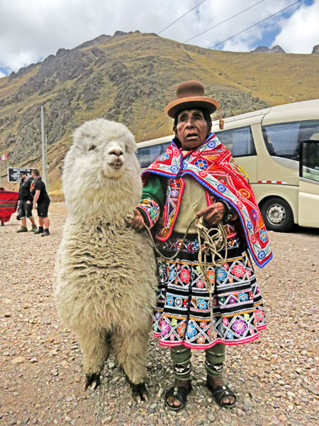 An elderly woman poses for a photo with a llama in Laraya, Peru.