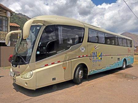 The Inka Express tour bus in Laraya, Peru.