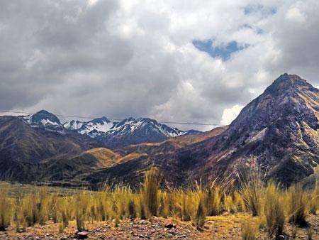 Snowcapped peaks somewhere near Laraya, Peru.