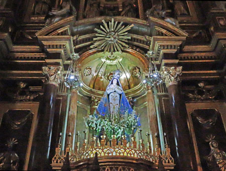 The Virgin Mary inside the Basilica de San Francisco in Lima, Peru.
