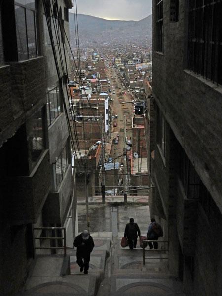 A narrow view of Puno, Peru.