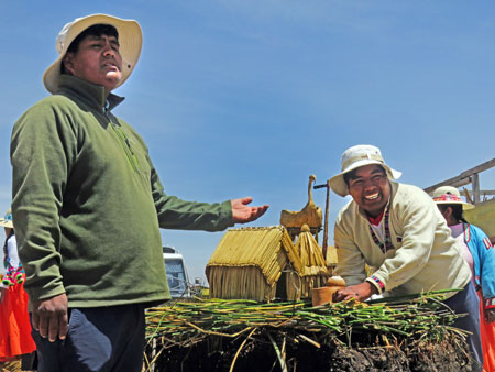 These guys have got some 'splainin' to do on the Isla Uros near Puno, Peru.