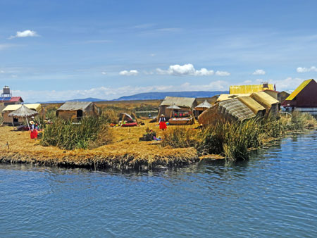 The Uros Islands near Puno, Peru.