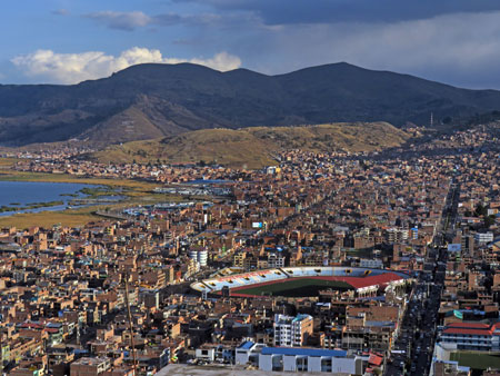 A scenic overview of Puno, Peru.