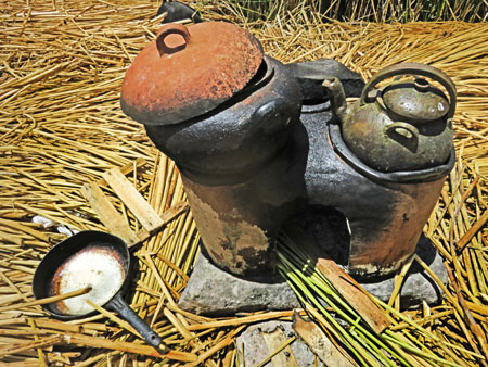 A tiny stove / tea pot on the Uros Islands near Puno, Peru.