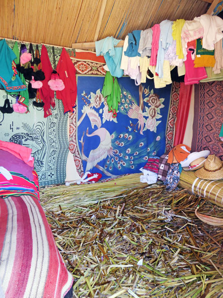 The interior of a hut made out of totora reeds on the Uros Islands near Puno, Peru.
