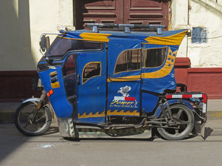 A hot rod tuk-tuk in Puno, Peru.