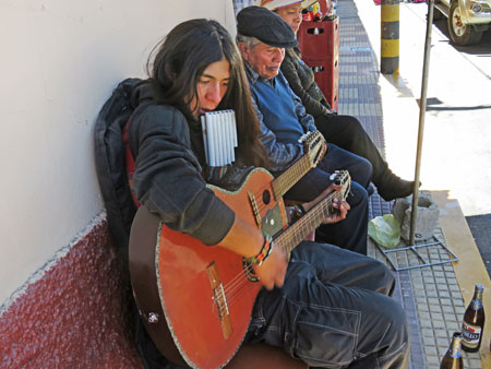 A street musician jams in Yunguyo, Peru.