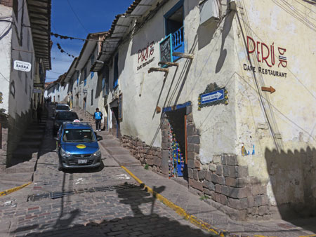 The scenic cobblestone back lanes of Cuzco, Peru.