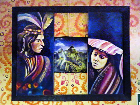 Three paintings hang inside one frame at Dino's in Cuzco, Peru.