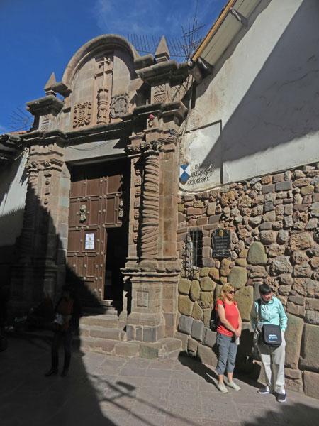 The ornate entrance to the Palacio Arzobispal in Cuzco, Peru.