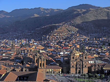 An overview of central Cuzco, Peru.