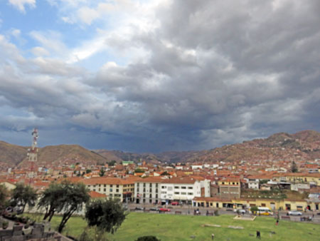 Looking south over the Jardin Sagrado in Cuzco, Peru.